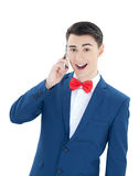 Handsome man talking on the phone Royalty Free Stock Image