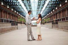 Handsome Man Talking To Beautiful Woman Royalty Free Stock Photo