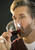 Handsome Man Tasting Red Wine Royalty Free Stock Photos