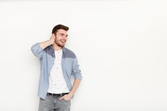 Handsome man touching his hair Royalty Free Stock Image
