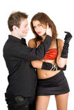 Handsome man touching pretty woman Royalty Free Stock Images