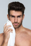 Handsome man with towel stock photography