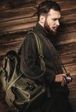Handsome man traveler Stock Image