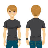 Handsome Man Tshirt. Front and back view of handsome man wearing blank black tight tshirt template Royalty Free Stock Photography