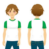 Handsome Man Tshirt. Front and back view of handsome man wearing white and green tight t-shirt template Stock Photography