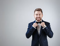 Handsome man in tuxedo and bow tie looking at camera. Fashionable, festive clothing. emcee on grey background Stock Image