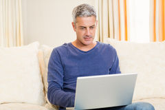 Handsome man using laptop Royalty Free Stock Images