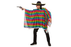 Handsome man in vivid poncho holding gun isolated Royalty Free Stock Image