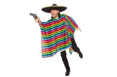 Handsome man in vivid poncho holding gun isolated Stock Images