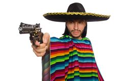 Handsome man in vivid poncho holding gun isolated Royalty Free Stock Photography