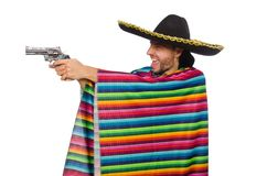 Handsome man in vivid poncho holding gun isolated Stock Photography