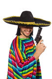Handsome man in vivid poncho holding gun isolated Royalty Free Stock Images