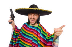 Handsome man in vivid poncho holding gun isolated Royalty Free Stock Photo