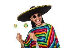 Handsome man in vivid poncho holding lollypop Stock Photo