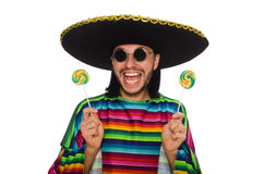 Handsome man in vivid poncho holding lollypop Royalty Free Stock Photography