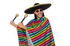 Handsome man in vivid poncho holding maracas Royalty Free Stock Images