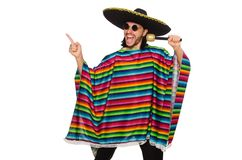 Handsome man in vivid poncho holding maracas Stock Images
