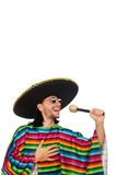 Handsome man in vivid poncho holding maracas Royalty Free Stock Photography