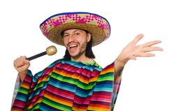 Handsome man in vivid poncho holding maracas Royalty Free Stock Photo