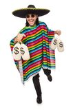 Handsome man in vivid poncho holding money bags Stock Photo