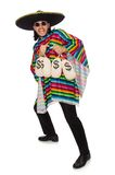 Handsome man in vivid poncho holding money bags Royalty Free Stock Photos