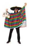 Handsome man in vivid poncho holding money bags Royalty Free Stock Photography