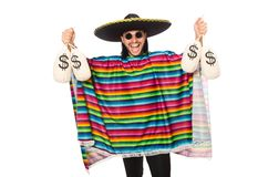 Handsome man in vivid poncho holding money bags Stock Image