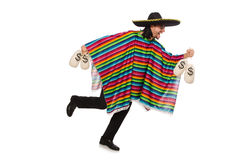 Handsome man in vivid poncho holding money bags Stock Photos