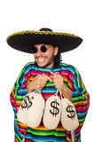 Handsome man in vivid poncho holding money bags Stock Images
