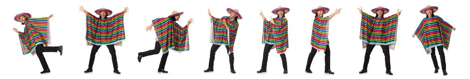 The handsome man in vivid poncho isolated on white Royalty Free Stock Photo