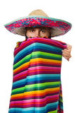 Handsome man in vivid poncho isolated on white Stock Photo