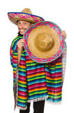 Handsome man in vivid poncho isolated on white Royalty Free Stock Image