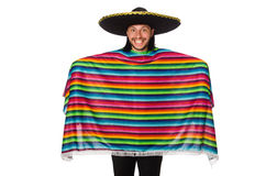 Handsome man in vivid poncho isolated on white Stock Photography