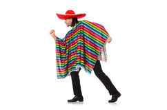 Handsome man in vivid poncho isolated on white Royalty Free Stock Photo