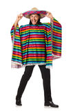 Handsome man in vivid poncho isolated on white Stock Photos