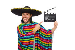 Handsome man in vivid poncho isolated on white Stock Image