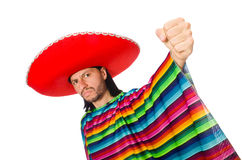 Handsome man in vivid poncho isolated on white Royalty Free Stock Images