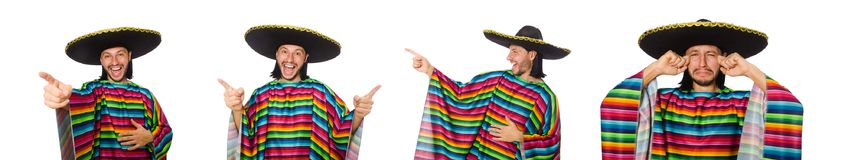 The handsome man in vivid poncho isolated on white Stock Image
