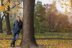 Handsome man walking in the autumn park.  Stock Photo