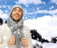 Handsome man in warm sweater, hat and scarf Stock Image