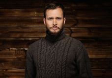 Handsome man wearing cardigan Stock Image