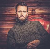 Handsome man wearing cardigan Royalty Free Stock Photography
