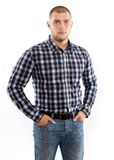 Handsome man wearing checkered shirt Royalty Free Stock Photos