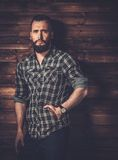 Handsome man wearing checkered  shirt Stock Photos