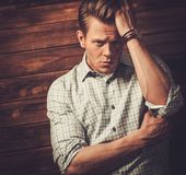 Handsome man wearing checkered  shirt Stock Photos