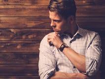 Handsome man wearing checkered  shirt Royalty Free Stock Photos