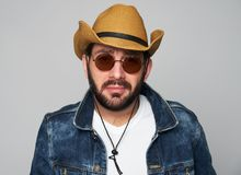 Handsome Man Wearing Cowboy Hat And Sunglasses Royalty Free Stock Photo