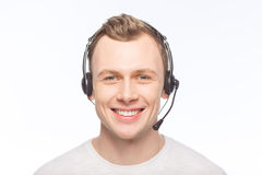 Handsome man wearing a headset Royalty Free Stock Image