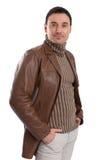 Handsome man wearing leather jacket Stock Image