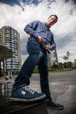 Handsome man wearing sneaker Stock Photo